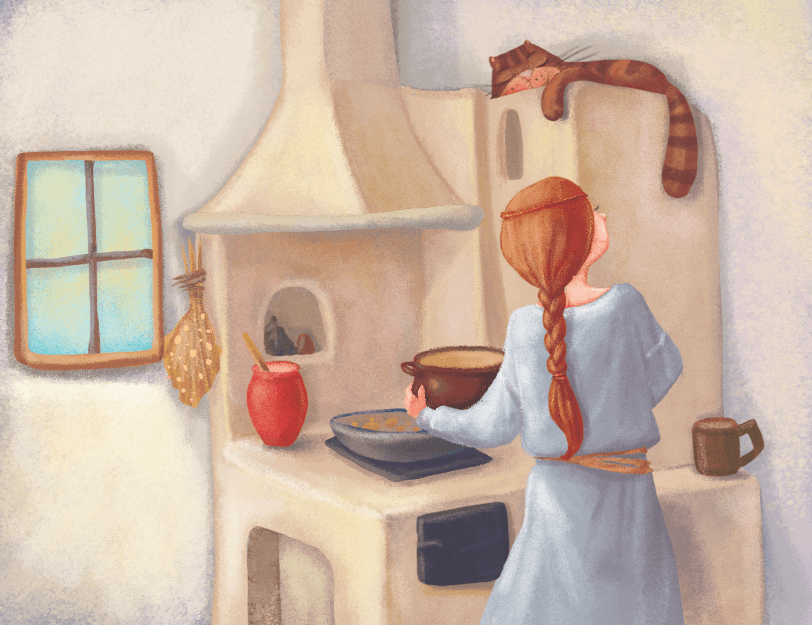 Kobieta przygotowuje posiłek na glinianym piecu w starym domu. Na piecu ogrzewa się kot.