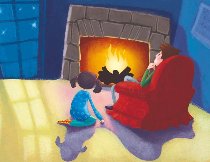 Ojciec siedzi na fotelu, córka klęczy obok fotela, patrzą na rozpalony kominek w ciemnym pokoju.