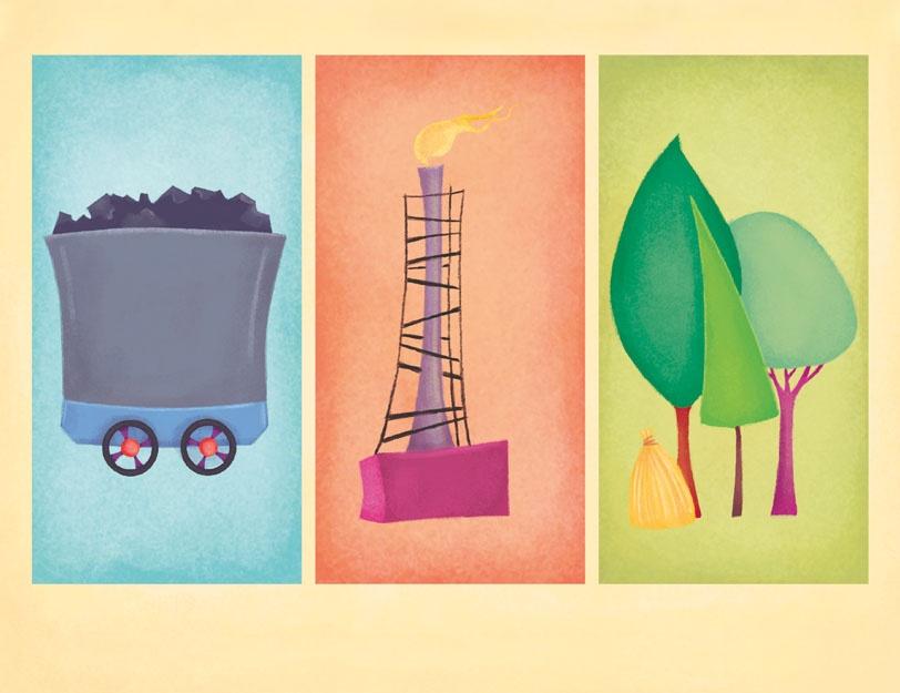 Mozaika z ilustracjami wagonika z węglem, komina z płomieniem spalanego gazu oraz drzew. Podpisy po kolei węgiel, gaz, biomasa.