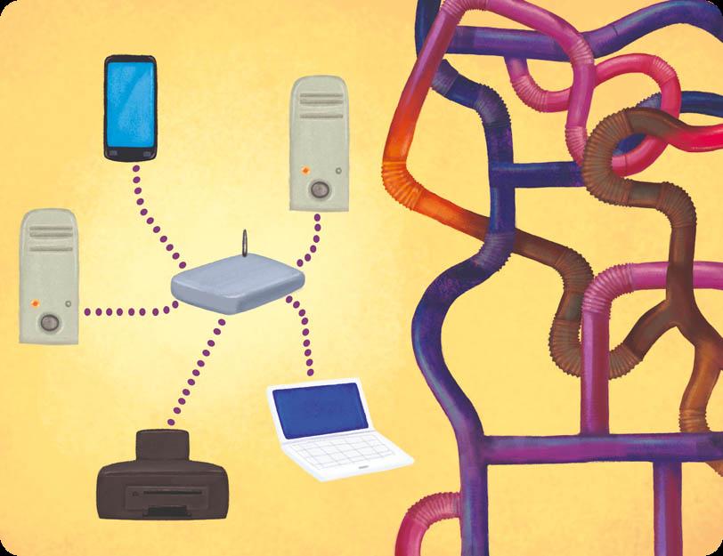 Różne typy układów - sieć komputerowa oraz sieć rur