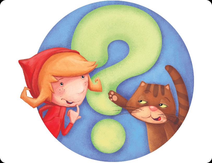 Czerwony Kapturek i kot Klucha widnieją na tle znaku zapytania