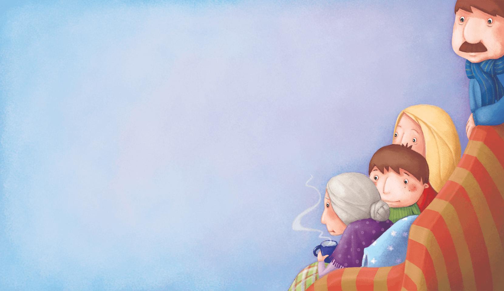 Rodzina siedzi przytulona na kanapie. Babcia trzyma kubek z gorącą herbatą.