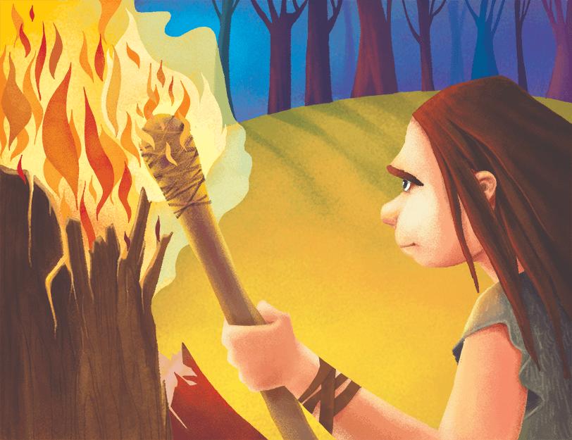 Człowiek pierwotny podpala pochodnię od płonącego drzewa.