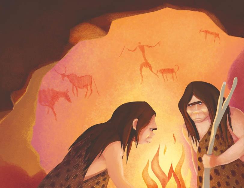 Ludzie pierwotni zebrani wokół ogniska w jaskini.