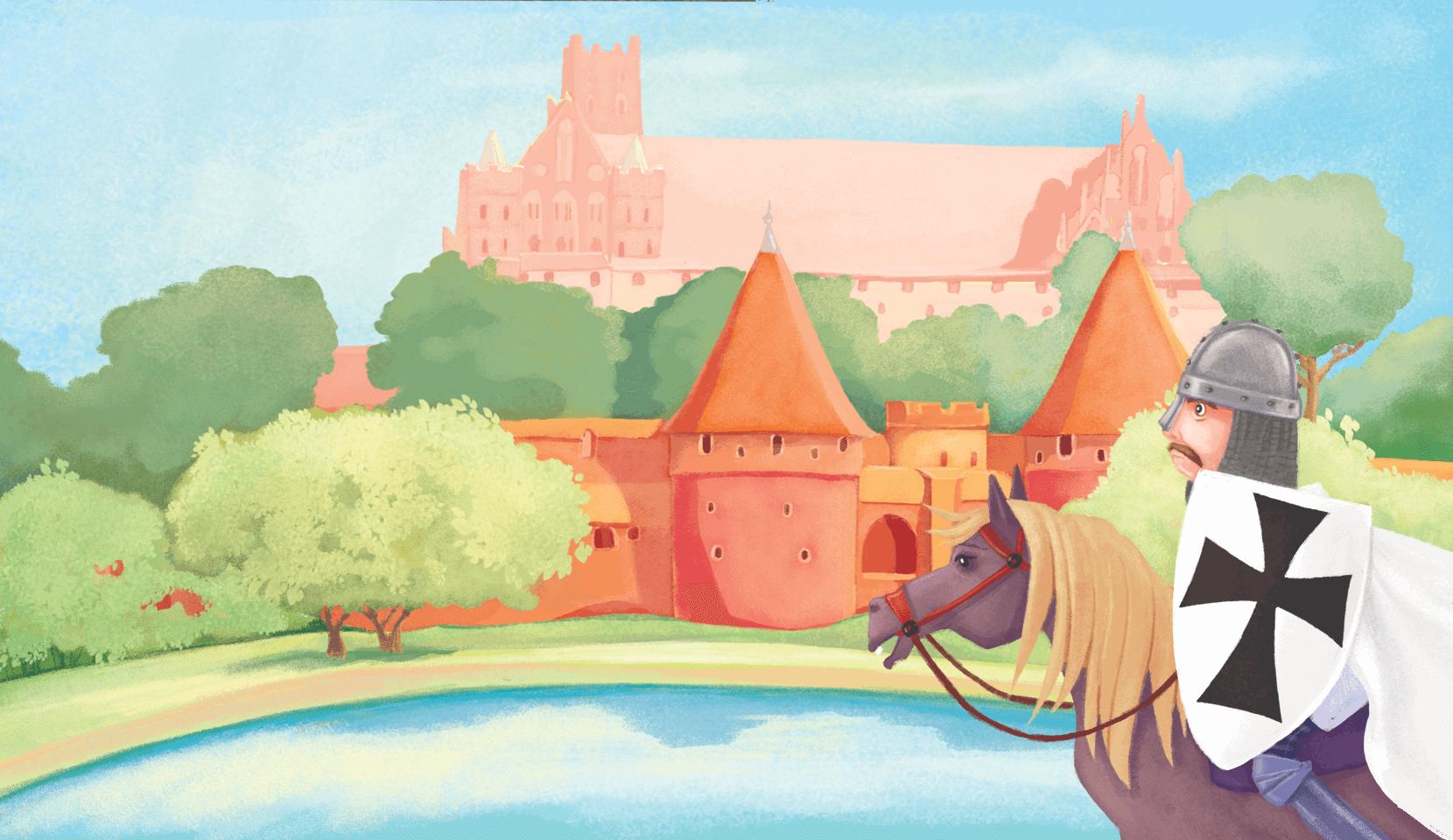 Rycerz na koniu patrzy w stronę zamku za wodą.
