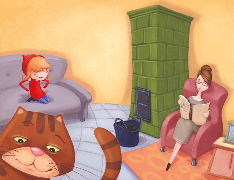 Rodzina siedzi w pokoju przy piecu kaflowym.
