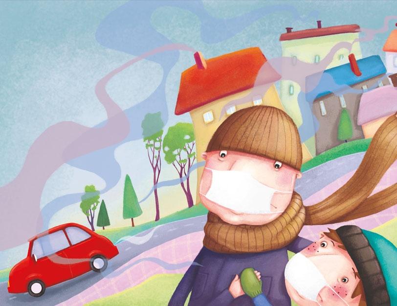 Chłopiec z tatą chodzi po mieście pełnym smogu. Z kominów i z rur wydechowych samochodu wydobywa się dym.