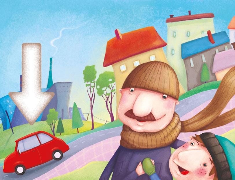 Chłopiec z tatą chodzi po mieście pełnym smogu. Z kominów i z rur wydechowych samochodu wydobywa się dym. Strzałka wskazuje na samochód.