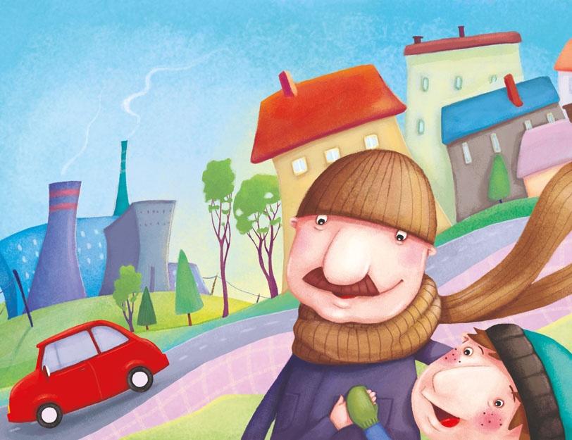 Chłopiec z tatą chodzi po mieście z czystym powietrzem. W tle kominy elektrociepłowni.