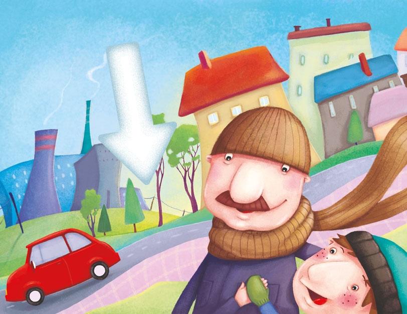 Chłopiec z tatą chodzi po mieście z czystym powietrzem. W tle kominy elektrociepłowni. Strzałka wskazuje na linie przewodzące prąd.