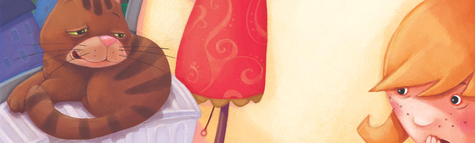 Dziewczynka patrzy na grzejnik na którym siedzi kot Klucha.