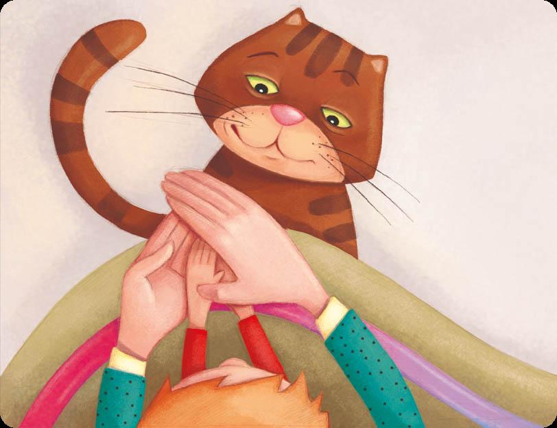 Kot patrzy jak rodzic ogrzewa ręce dziecka