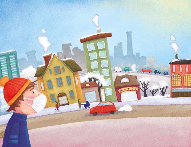 Chłopiec w maseczce spaceruje przez miasto zimą, mija samochody na drodze