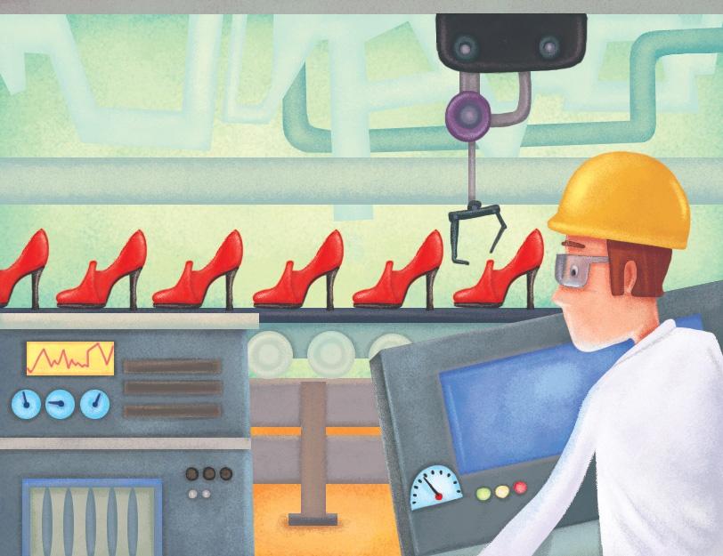 Operator w fabryce obserwuje produkcję na linii produkcyjnej