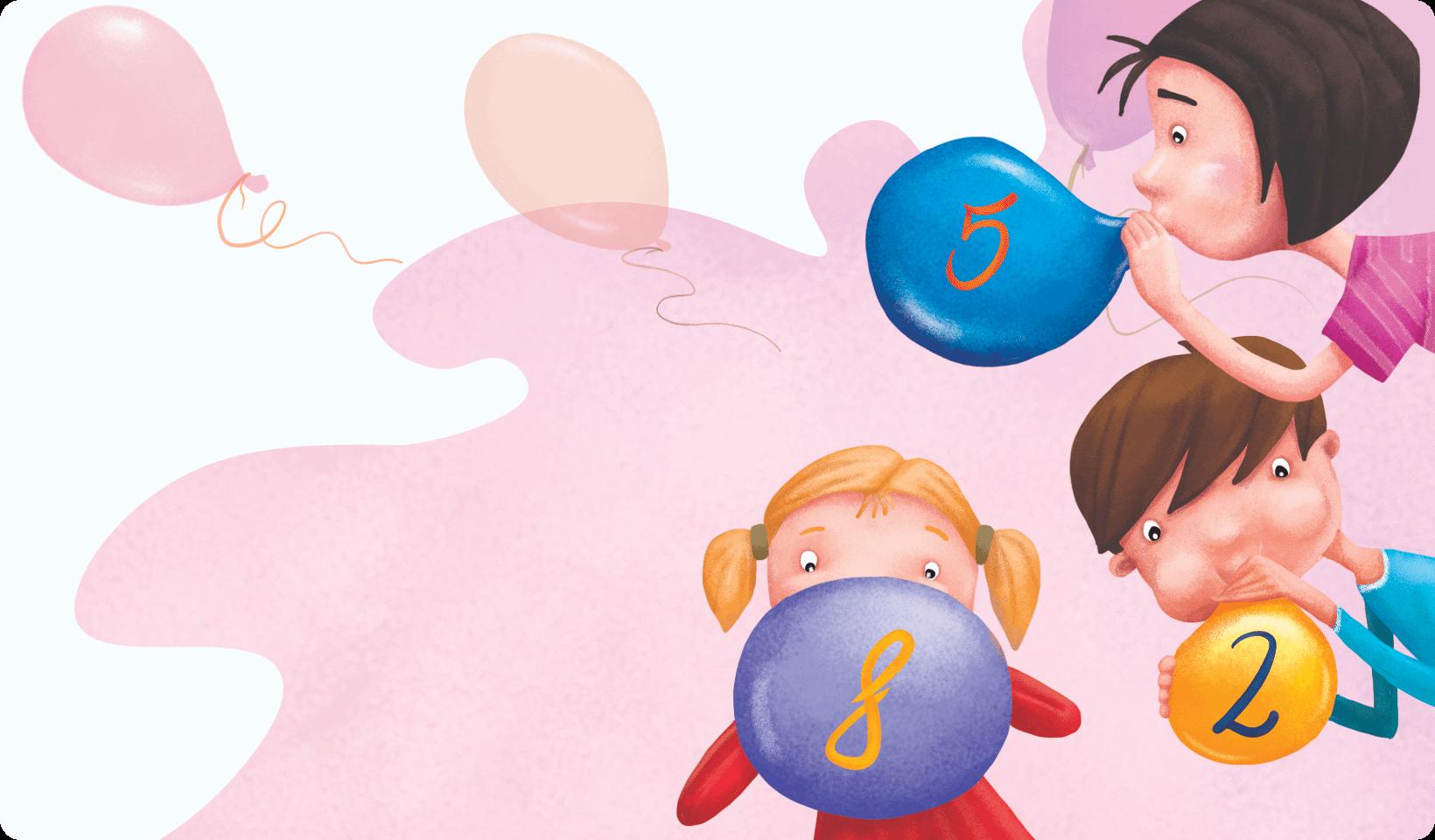 Grupa dzieci nadmuchiwuje baloniki